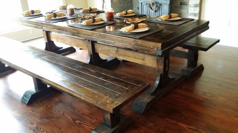 conjunto mesa madera solida rustica - Mesa De Madera Rustica