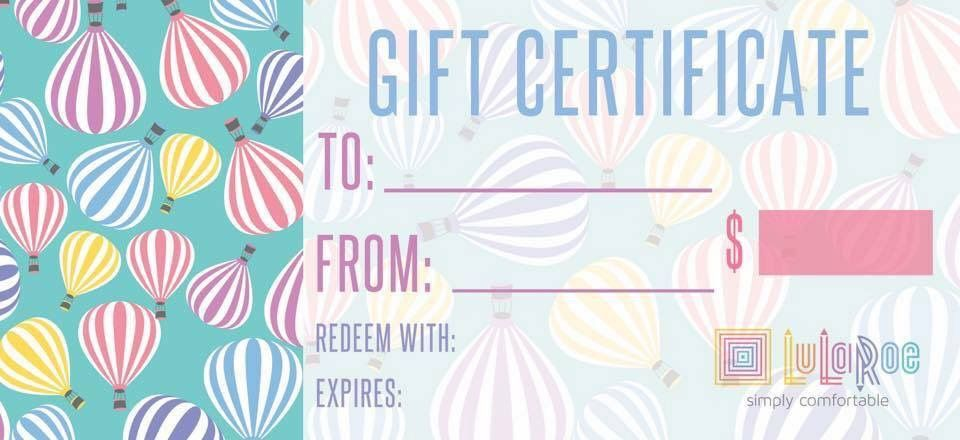 lularoe gift card    gift certificate hot air balloons