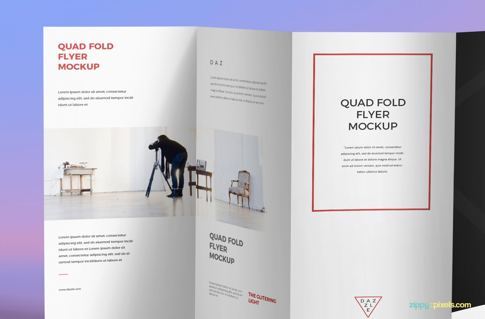 Insert your design in this brilliant quad fold brochure mockup and ...