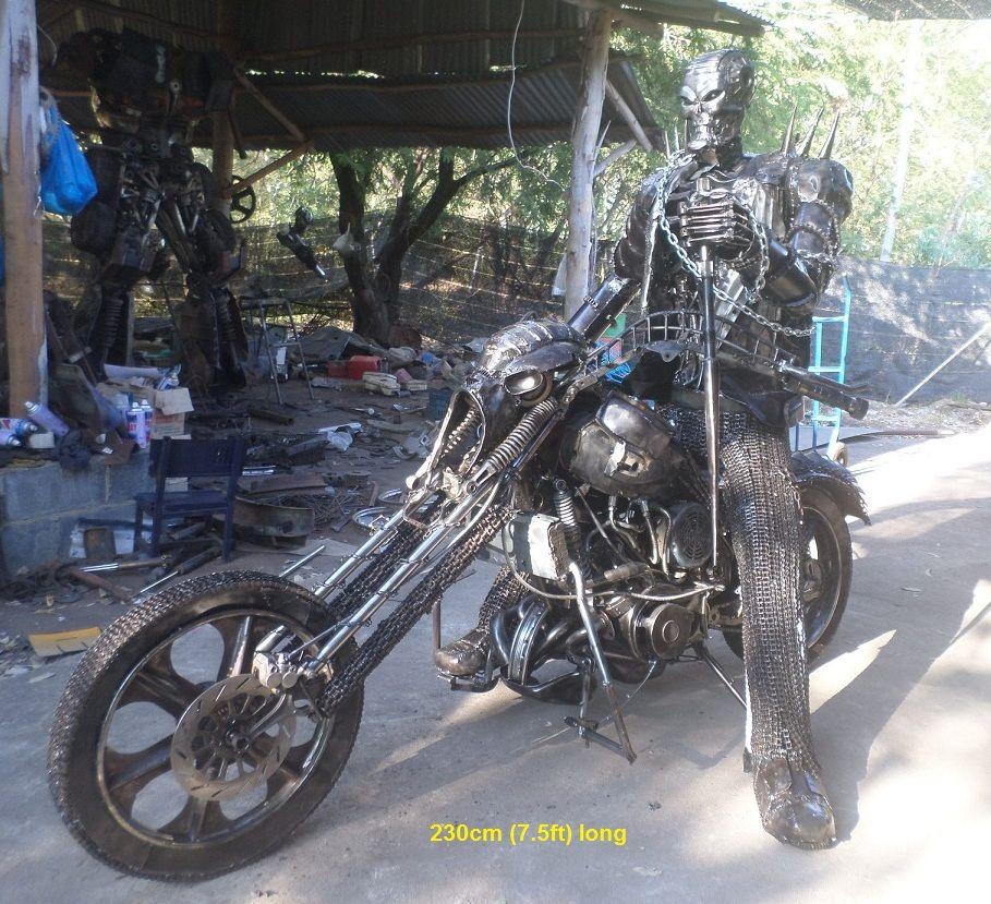 ghostrider sculpture on chopper full life size scrap metal art for ...