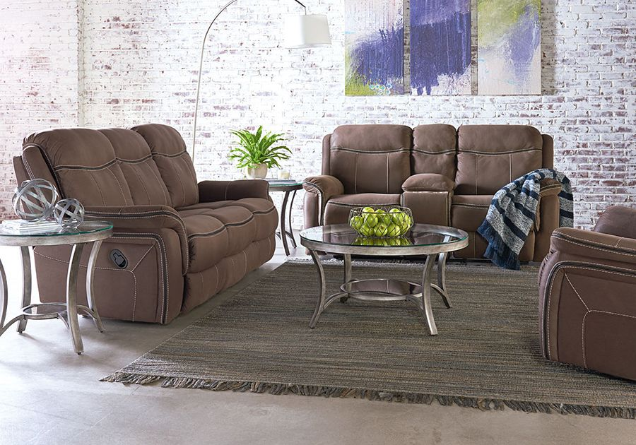 Champion Taupe Reclining Sofa Console Loveseat