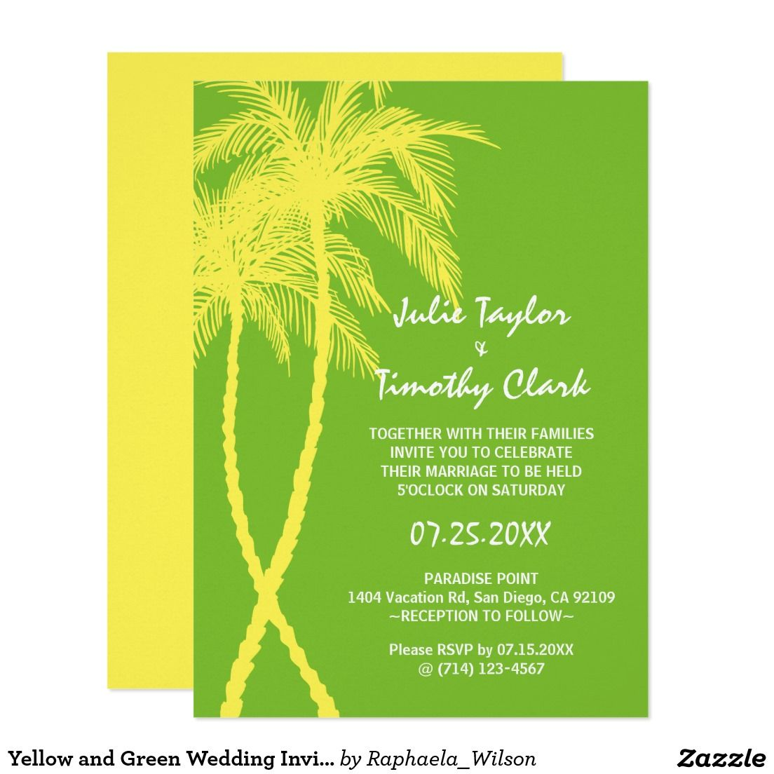 Yellow and Green Wedding Invitations | Tropical Palm Tree Wedding ...