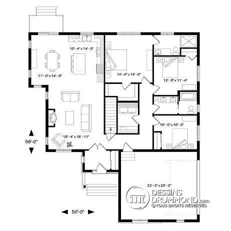 Rez-de-chaussée Modèle 3 chambres, garage double latéral, maison