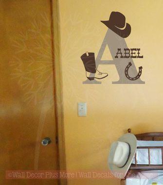 Western Monogram Name Set Vinyl Letters Art Wall Decals Bedroom ...