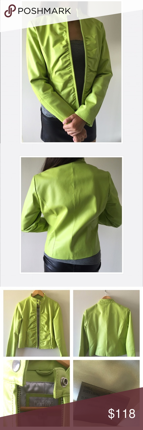Genuine lime green leather jacket NWOT. A unique pop of