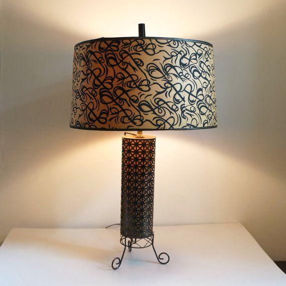 1950s Vintage Lamp Black Metal with paper by PinkElephantsRetro, $45.99