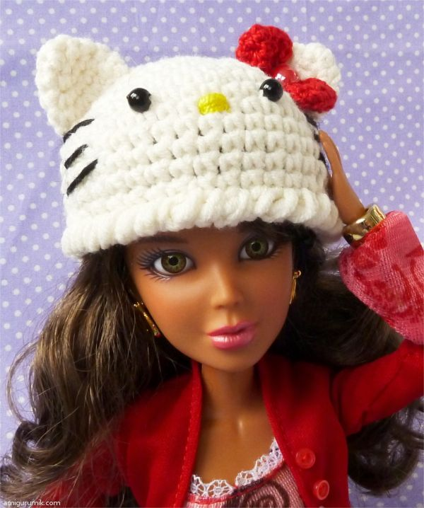 Hello Kitty Doll Toy Knitting Pattern : How to Knit Cap of Hello Kitty doll Doll, Amigurumi, DIY Craft food toys ...
