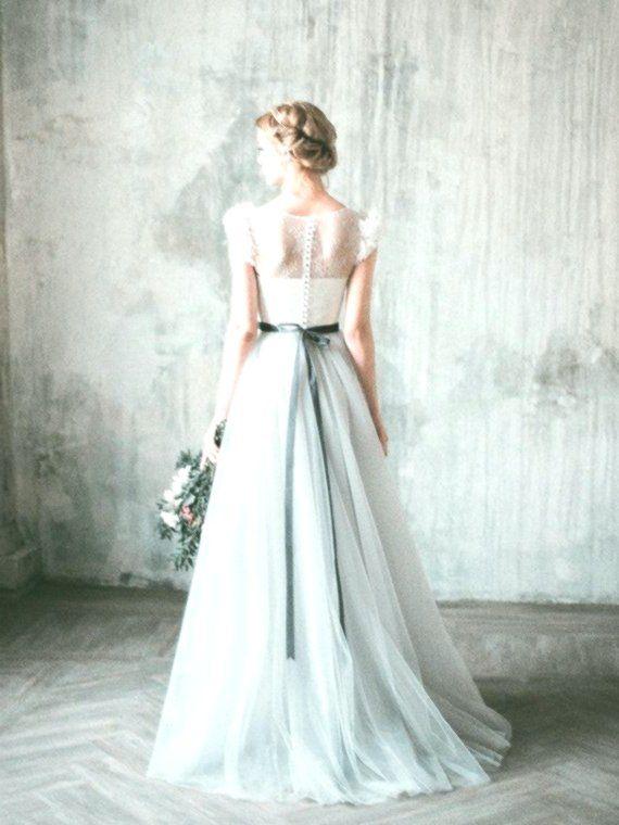 NEVA / / romantische grau Hochzeit Kleid, Spitze und Tüll ...
