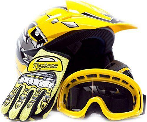 Youth Offroad Gear Combo Helmet Gloves Goggles Dot Motocross Atv Dirt Bike Mx Motorcycle Yellow Small Dirt Bike Helmet Bike