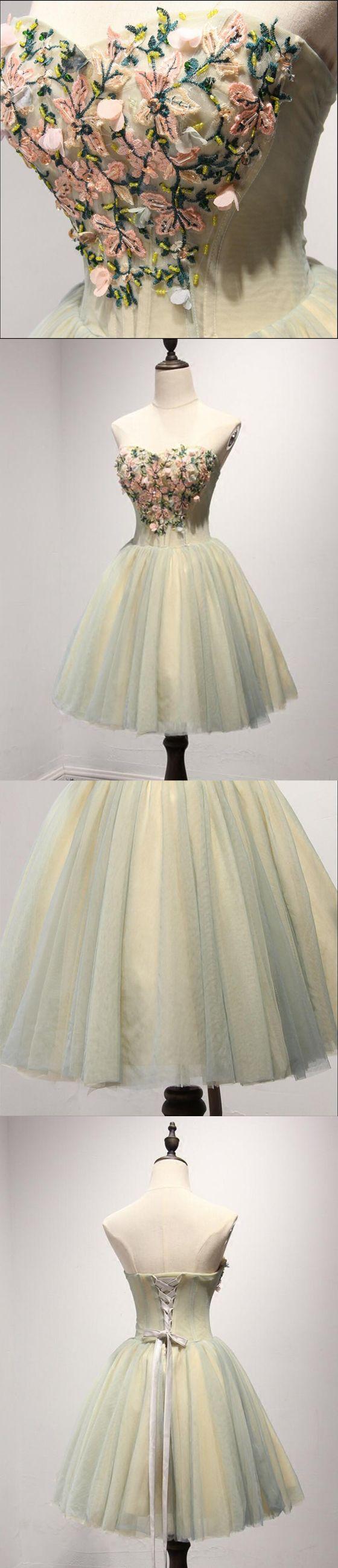 Short homecoming dress sweet heart homecoming dress applique