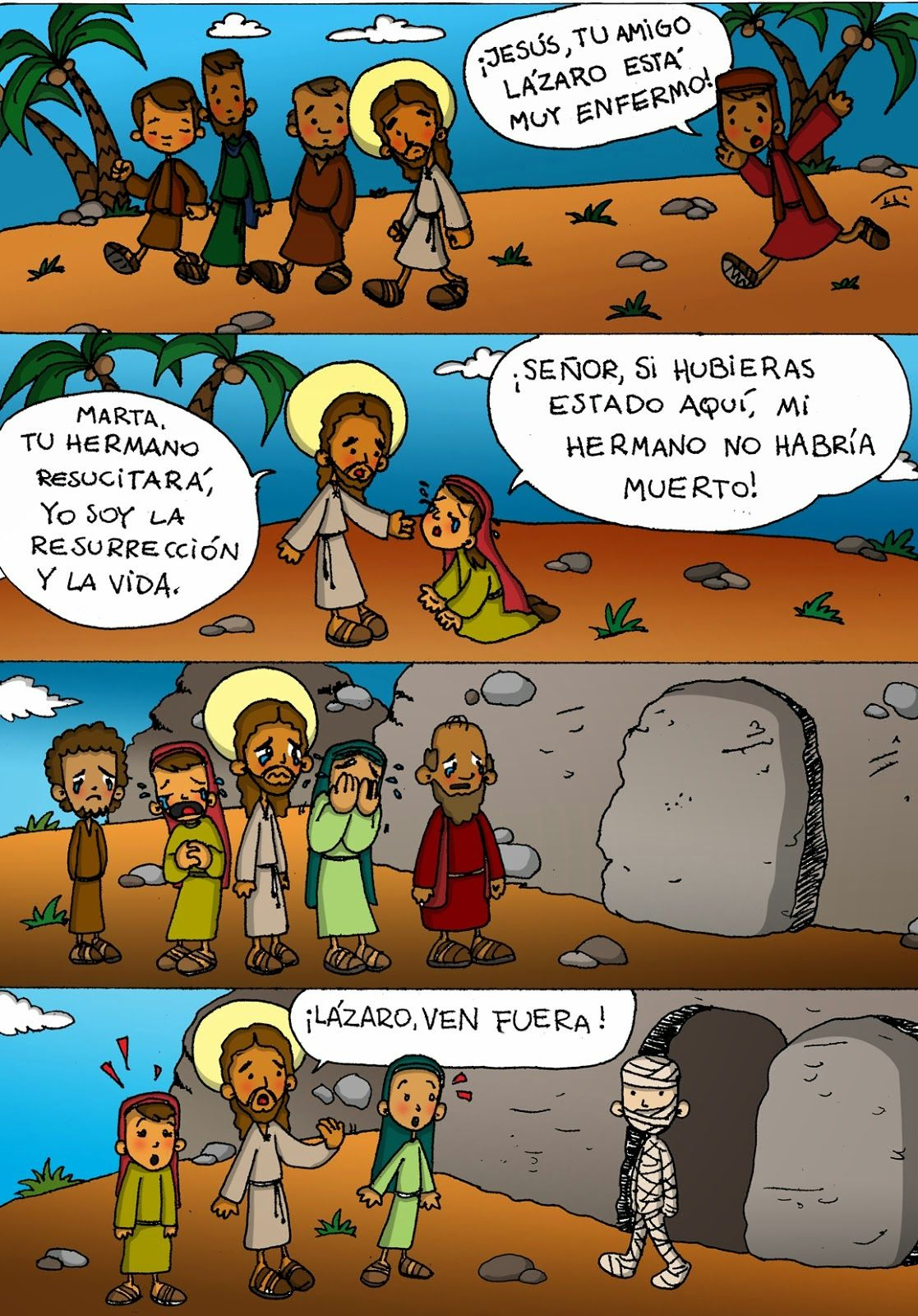 Resurrección De Lázaro Jn 11 1 45 En Tiras Bible Stories For Kids Bible History Stories For Kids