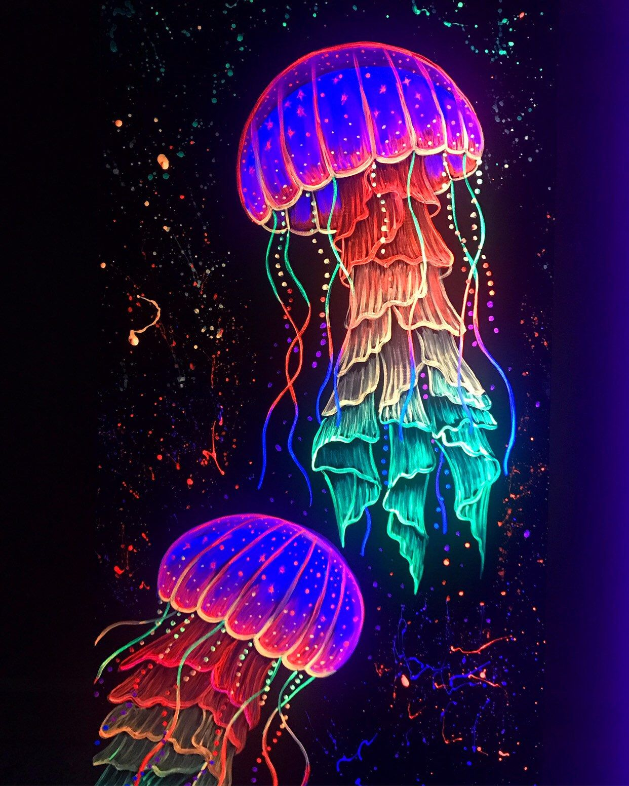 Blacklight Jellyfish Painting In Neon Paint Etsy Jellyfish Painting Neon Painting Jellyfish Art