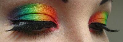Rainbow eyeshadow.