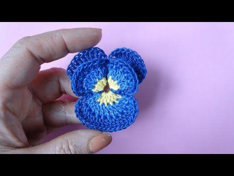 Flor Pensamiento (Pansy) tejida en crochet - YouTube | tejidos y ...