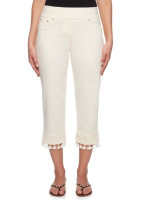 Ruby Rd Women Eastern Promise Pull On Stretch Denim Capri Pants  Tusk
