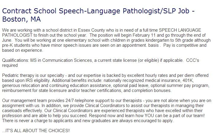 Hot Job Contract School Speech Language Pathologist Slp Job