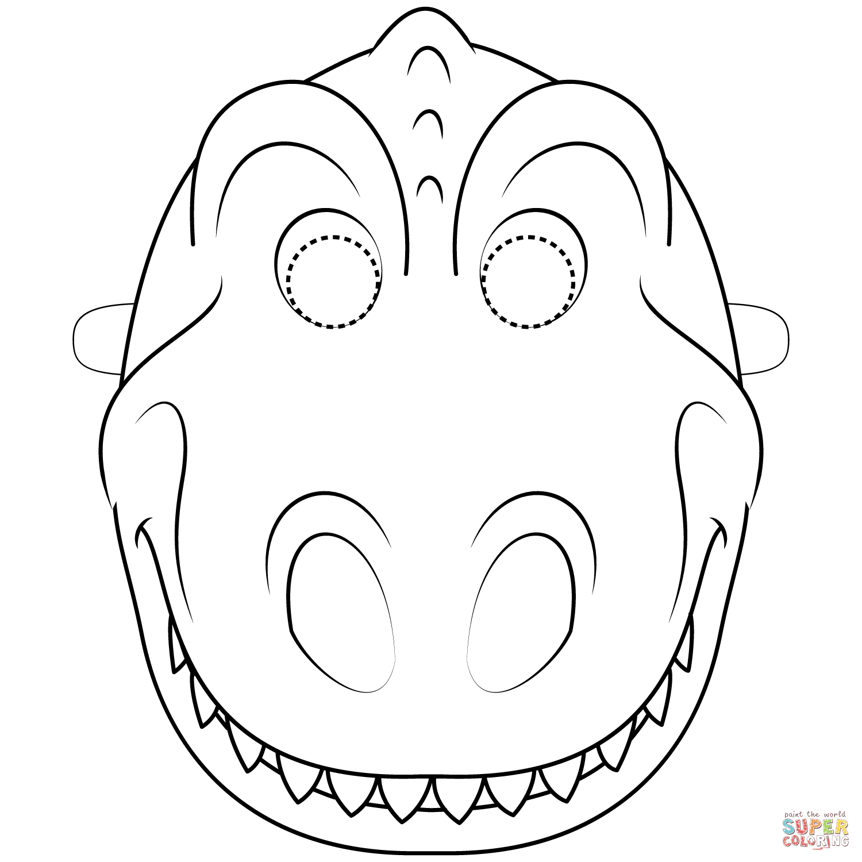 Dinosaur Mask Coloring Page