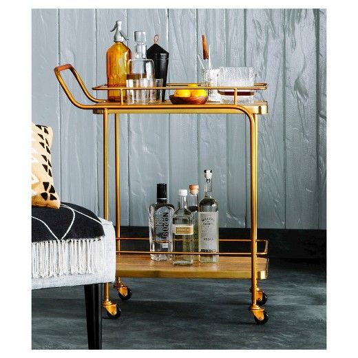 Metal Wood And Leather Bar Cart Gold Threshold