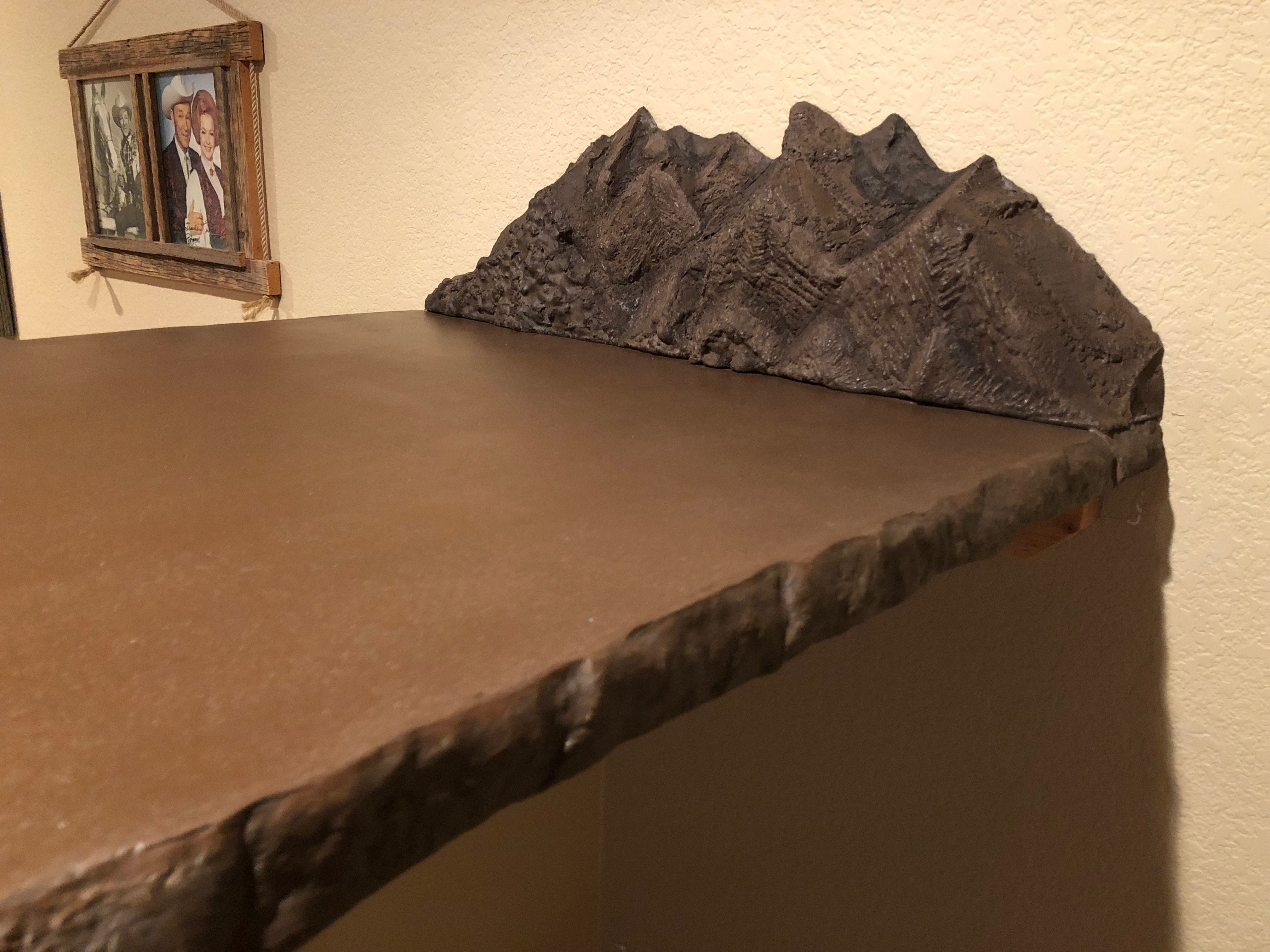 Custom Tobacco Brown 10 Concrete Countertop With A Chiseled Rock