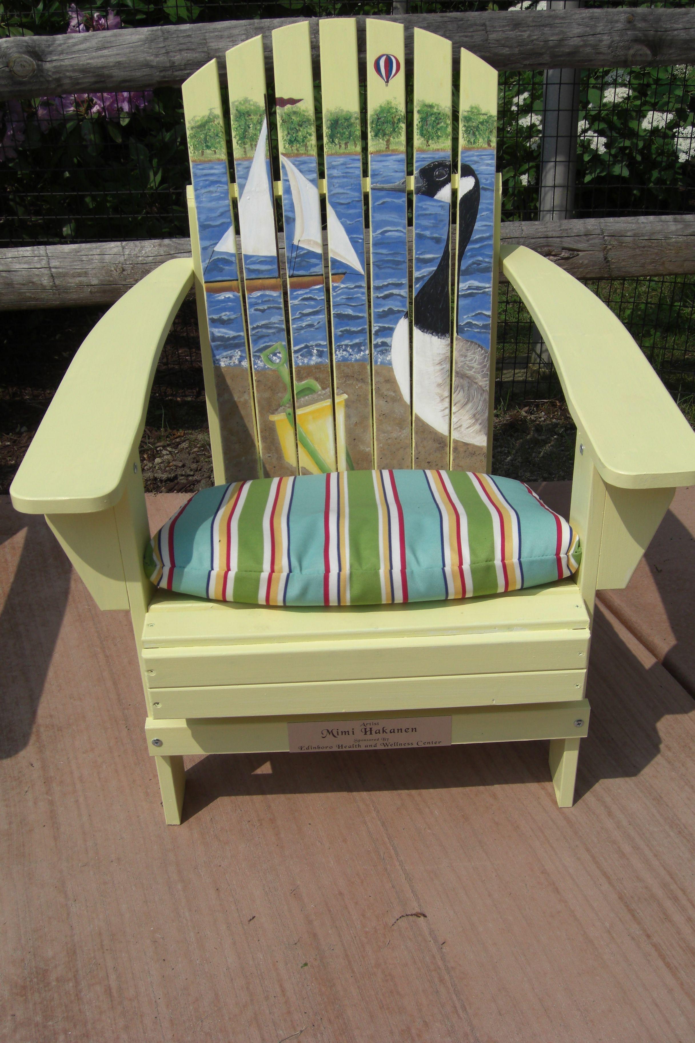 Painted Adirondack chair for Lakeside Home Association at Edinboro, PA.