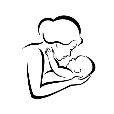 Young Mom Hugs Her Baby Stylized Vector Symbol Children Sketch Mother And Baby Tattoo Mom Drawing