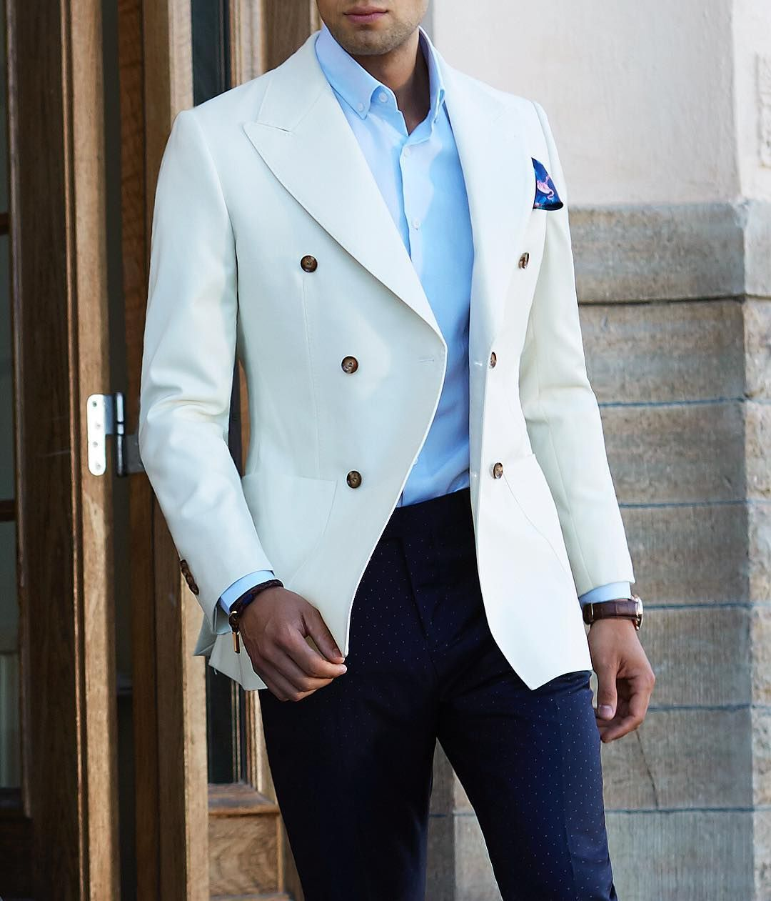 8afa8eacfe4 Grand Frank Ivory Double Breasted Blazer £185 | Men's Fashion | Mens ...
