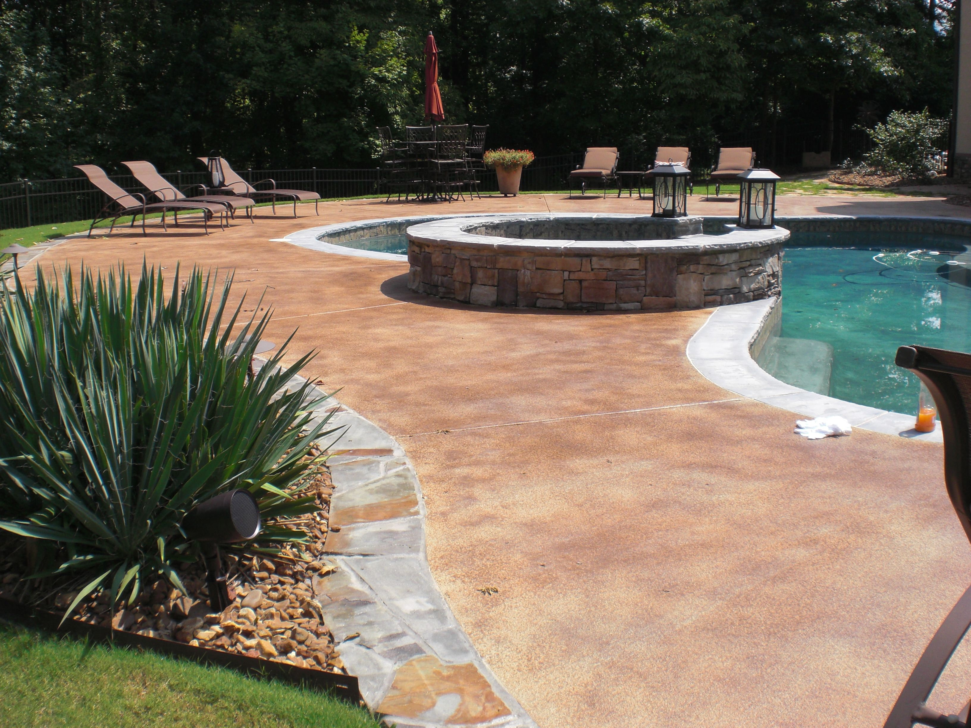 pool deck with flagstone coping pool deck with light coat of