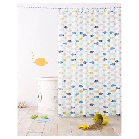 Fish Shower Curtain Calm Gray   Pillowfort™