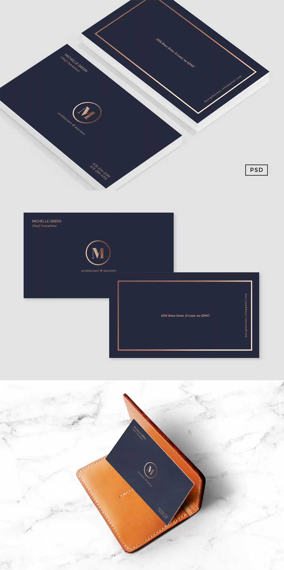 Navy Blue Metallic Business Card By 83oranges On Envato Elements Business Card Graphic Blue Business Card Business Card Template Design