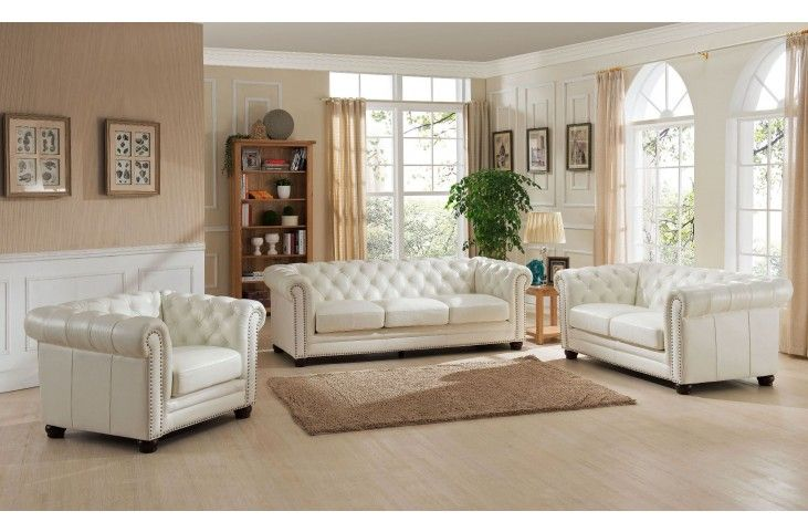 Monaco Pearl White Leather Living Room Set Leather Living Room