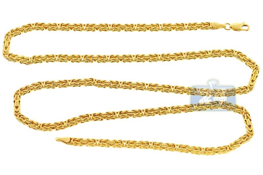 Italian 14k Yellow Gold Solid Byzantine Mens Chain 3 5 Mm Chains For Men Gold Chains For Men Gold Chains