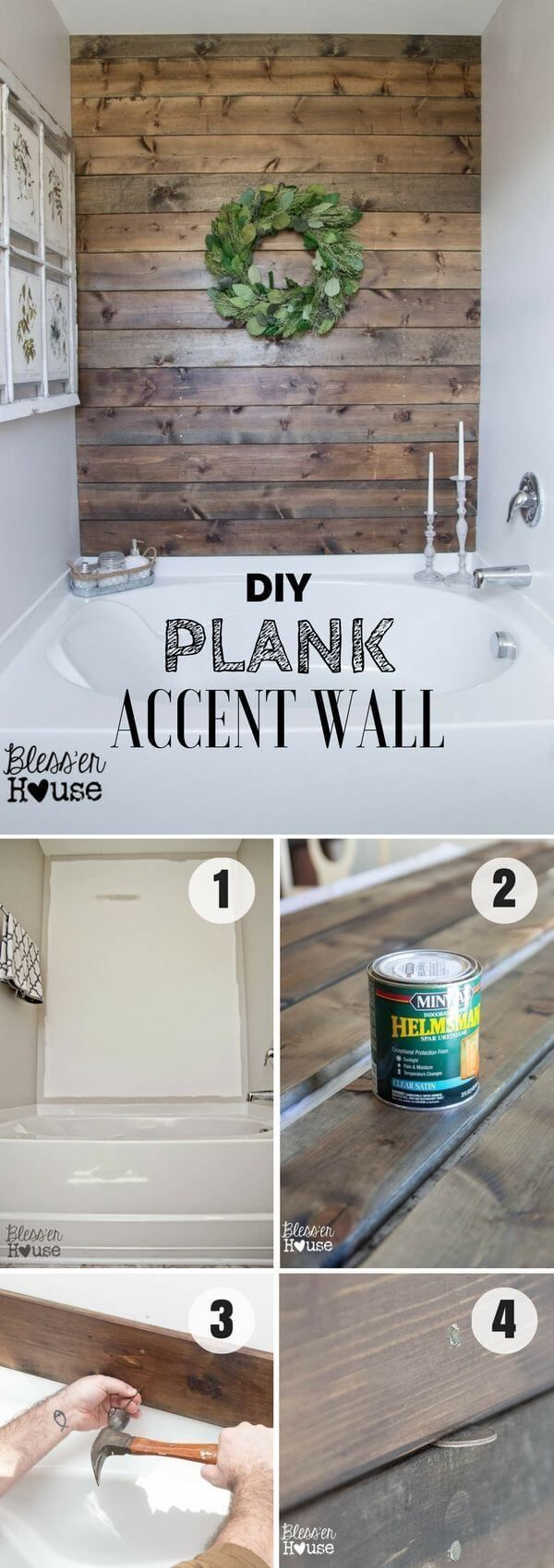 DIY Rustic Wood Accent Wall Turn the old wainscot paneling ...