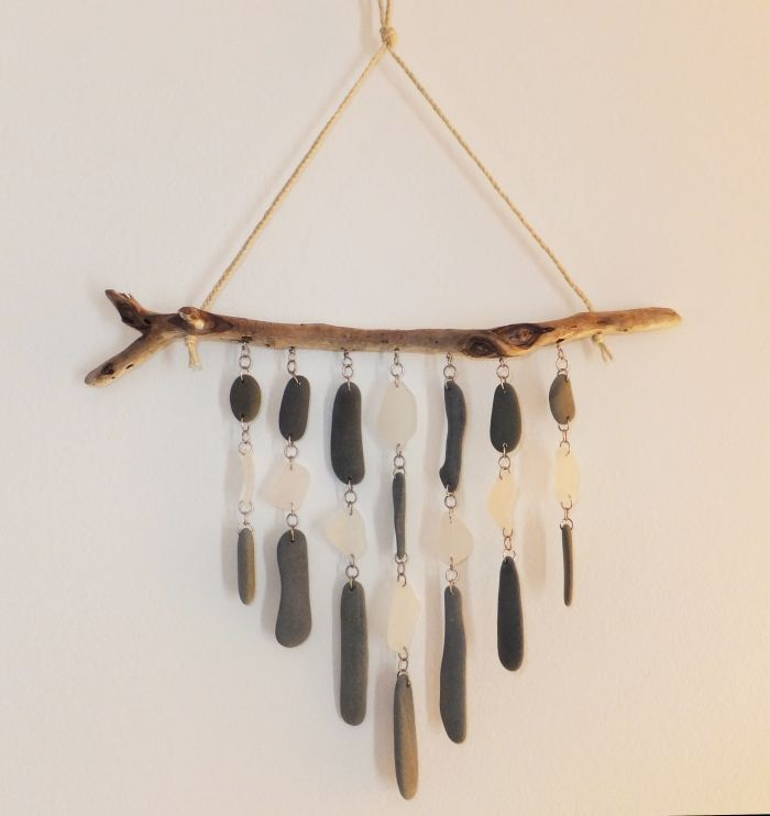 Driftwood Sea Glass and Beach Stone Mobile Wind by TheScatterBox