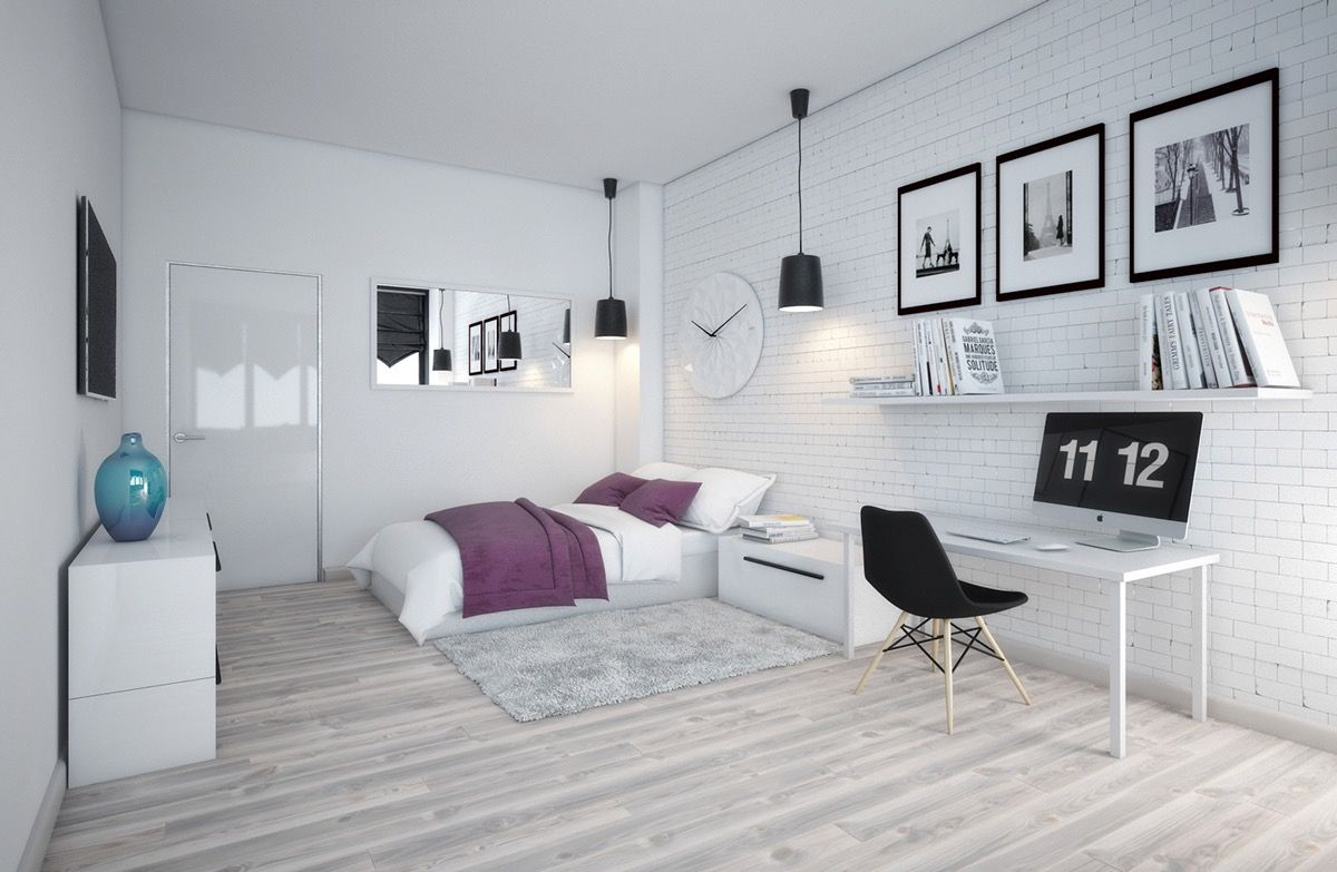 Scandinavian Bedroom Design For Woman With A White Color Scheme ...