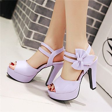 Shoes For Women Chunky Heel Peep Toe Platform Sandals Party Evening Dress Dress Casual Black Pink Purple Beige