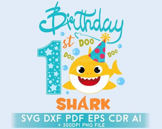 Baby Shark Birthday Svg Clipart 1st Birsthday Boy Shark Svg Eps