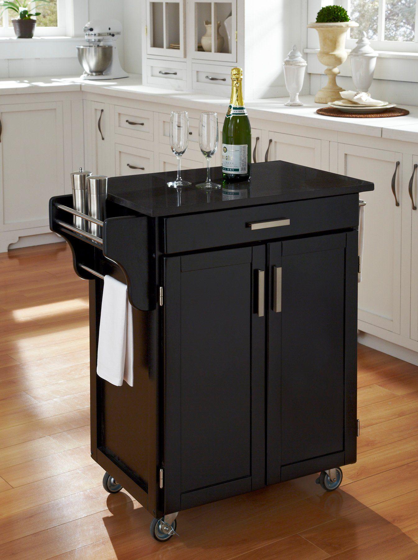 Cuisine Cart Black Finish Black Granite Top Create A Cart In 2020 Home Kitchens Black Kitchens Kitchen Furniture