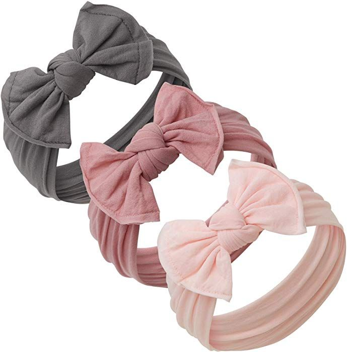 Amazon.com  Baby Girl Headbands and bows - Nylon Headband Fits newborn  toddler infant 393e1529f26