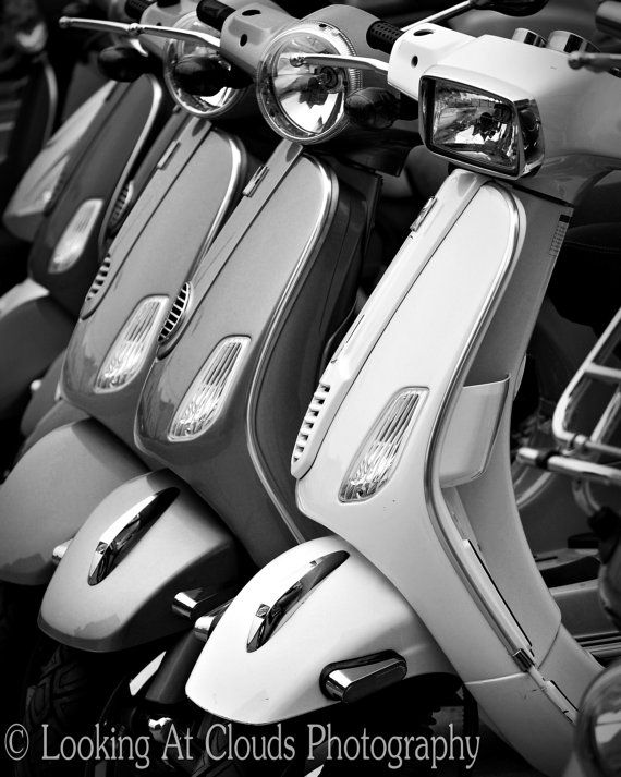 retro Vespa Scooters sharp black and white 8x10 mod art photo