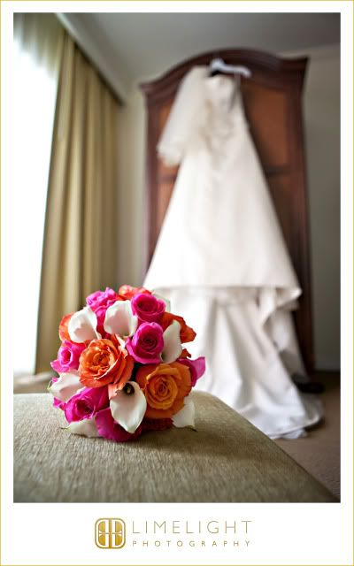 Wedding gown, Pink and Orange bouquet, Hyatt Regency Clearwater Beach, Getting Ready, Wedding photography, Limelight Photography, www.stepintothelimelight.com