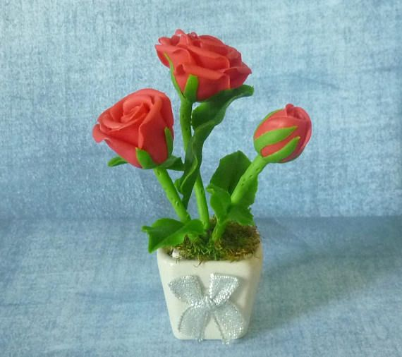 Miniature Dollhouse FAIRY GARDEN ~ Red Roses Flowers Centerpiece Planter ~ NEW