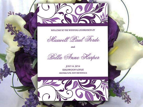 Half Fold Wedding Program Template Eggplant By Paintthedaydesigns