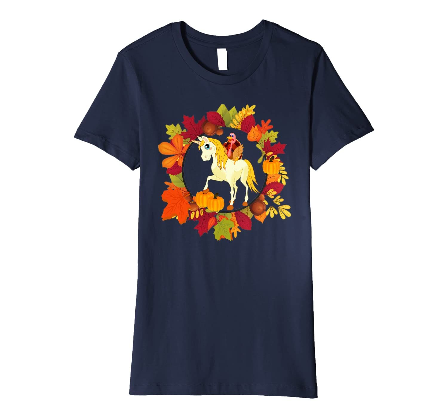 Turkey Unicorn Thanksgiving Gift Fall Unicorn Turkey Outfit Premium T-Shirt