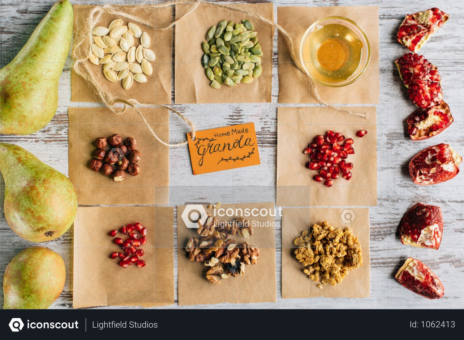 Premium Top View Of Granola Ingredients And Tag On Wooden Table Photo Download In Png Jpg Format Granola Ingredients Wooden Tables Granola
