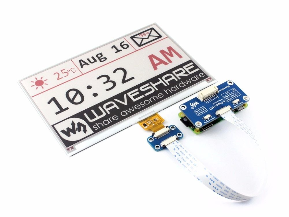 Waveshare 640x384,7 5inch E-Ink display HAT for Raspberry Pi