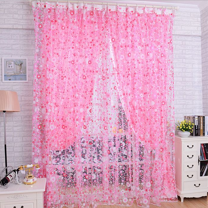 Print Floral Door Sheer Window Curtains Room curtains for living ...