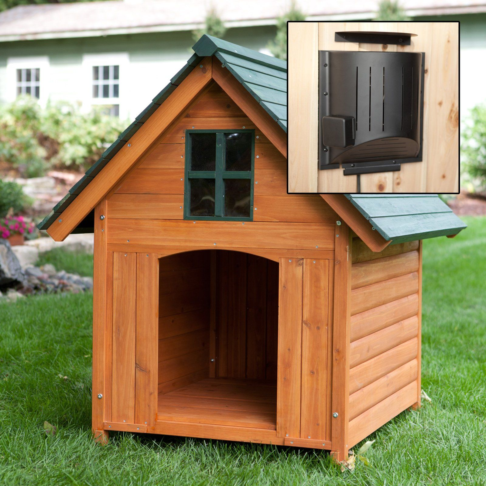 Home Design Ideas For Dogs:  Dog House Heated Pet Kennel Deluxe Rustic Wooden Large