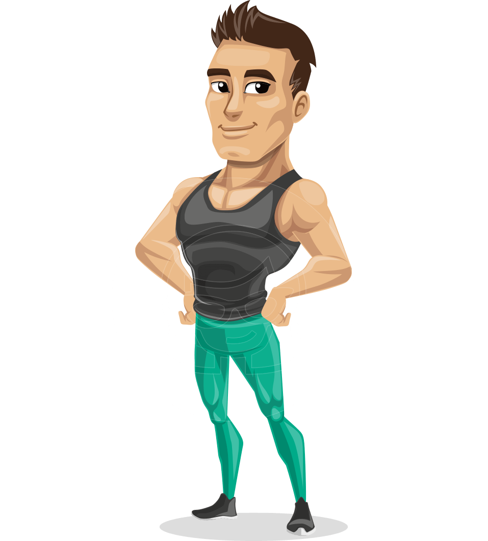 Jim is an athletic male fitness character in sports outfit - Fitness cartoon pics ...