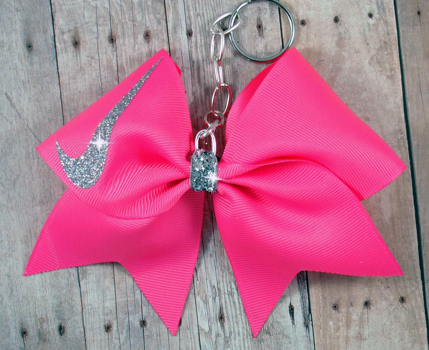 Cheer bow holder for cheer bows and hair bows cheer bow hanger - Hot Pink Nike Cheer Bow Keychain