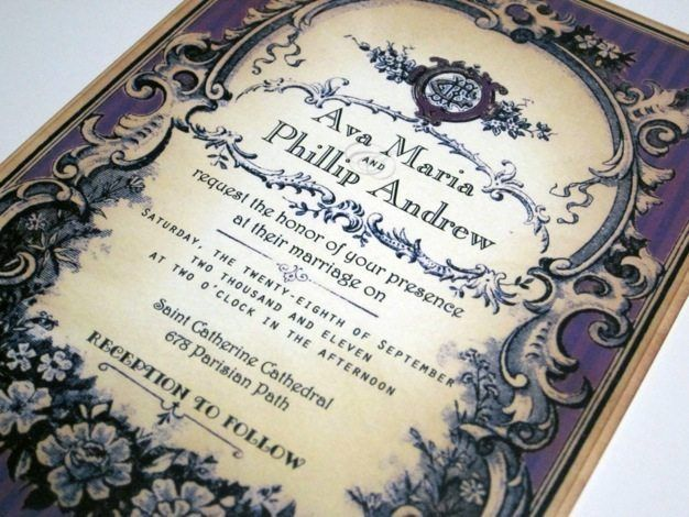 Vintage Wedding Invitations Ideas Victorian Western Theme